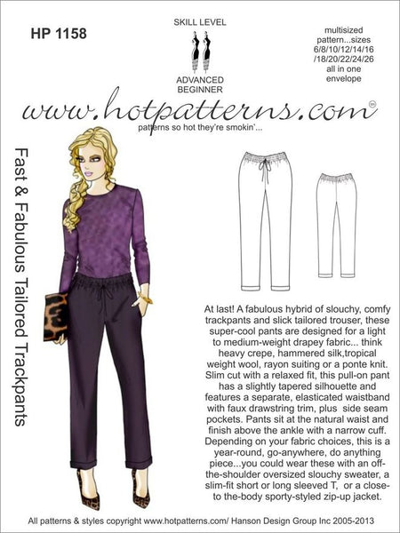 Hot Patterns 1158 - Fast & Fabulous Tailored Trackpants