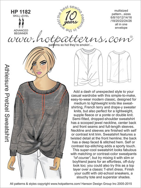Hot Patterns 1182- Athleisure Pretzel Sweatshirt