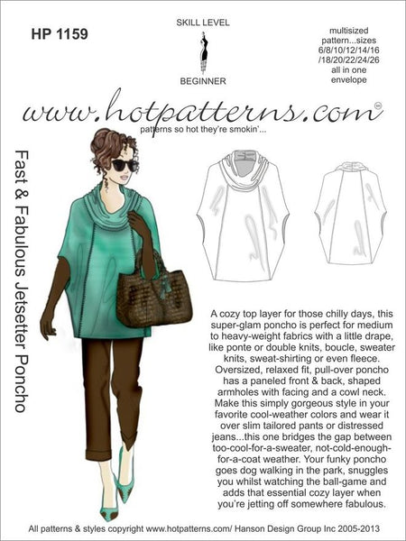 Hot Patterns 1159 - Fast & Fabulous Jetsetter Poncho