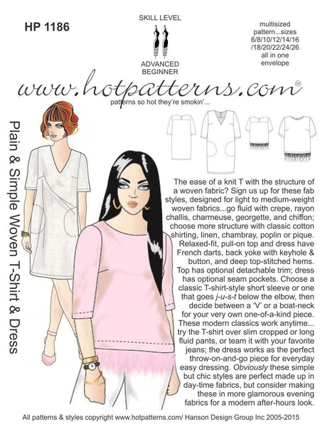 Hot Patterns 1186 - Plain & Simple Woven T-shirt & Dress
