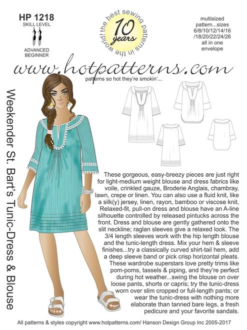 Hot Patterns 1218 - Weekender St. Bart's Tunic-Dress & Blouse