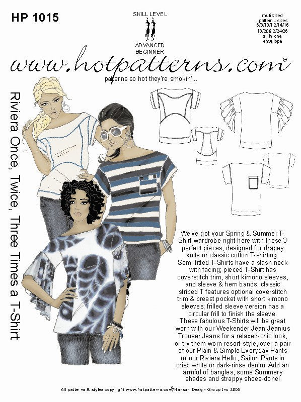 Hot Patterns 1015 - Riviera Once, Twice, Three Times a T-Shirt