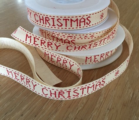 Merry Christmas Ribbon - Red
