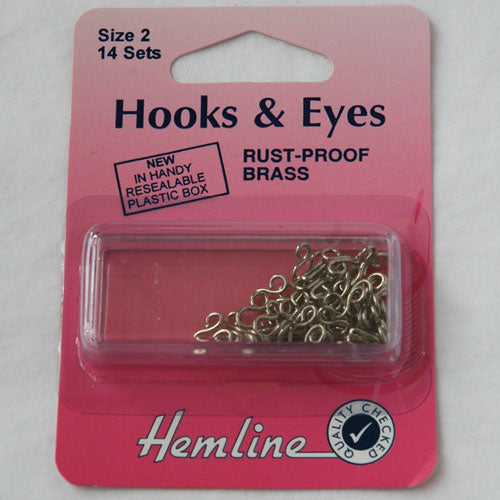 Hooks & Eyes (silver), size 2, set of 14