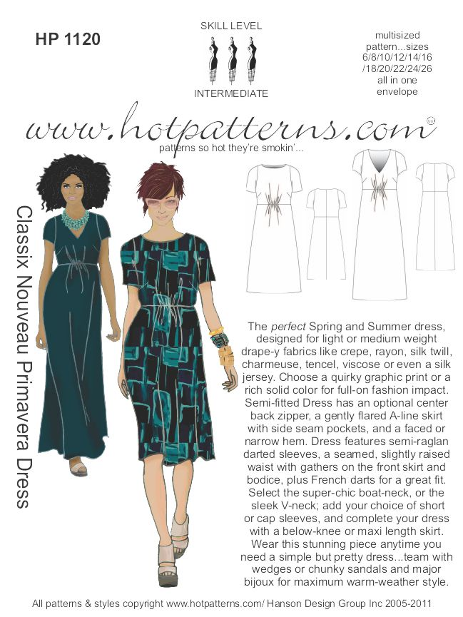 Hot Patterns 1120 - Classix Nouveau Primavera Dress