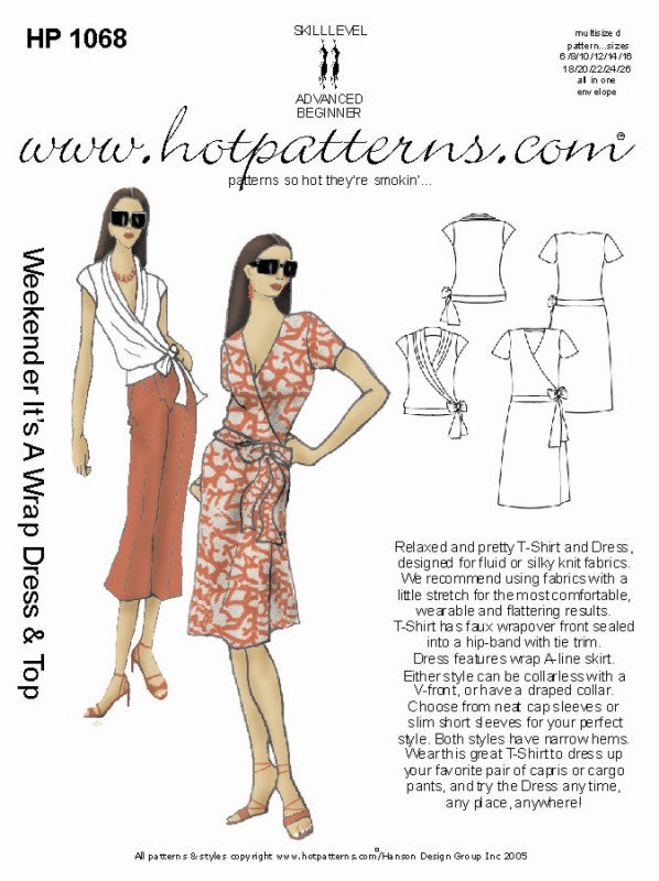 Hot Patterns 1068 - Weekender It's a Wrap Top & Dress