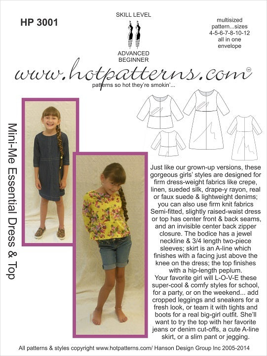 Hot Patterns 3001 - Mini-Me Essential Dress & Top