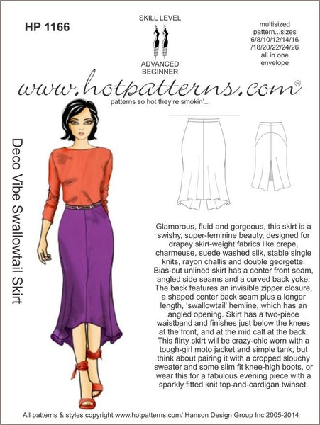 Hot Patterns 1166 - Deco Vibe Swallowtail Skirt