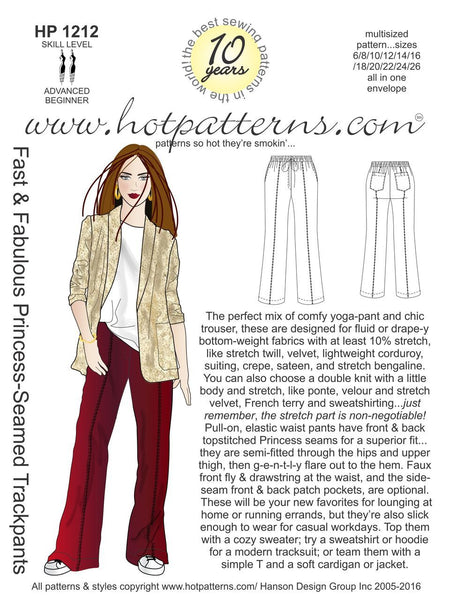 Hot Patterns 1212 - Fast & Fabulous Princess-Seamed Trackpants