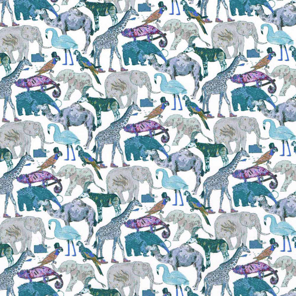 Liberty Tana Lawn - LTL03634160G - Queue for the Zoo - (blue)