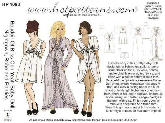 Hot Patterns 1093 - Boudoir Of Bliss Ooh Yeah Baby-Doll Nightgown, Robe and Panties