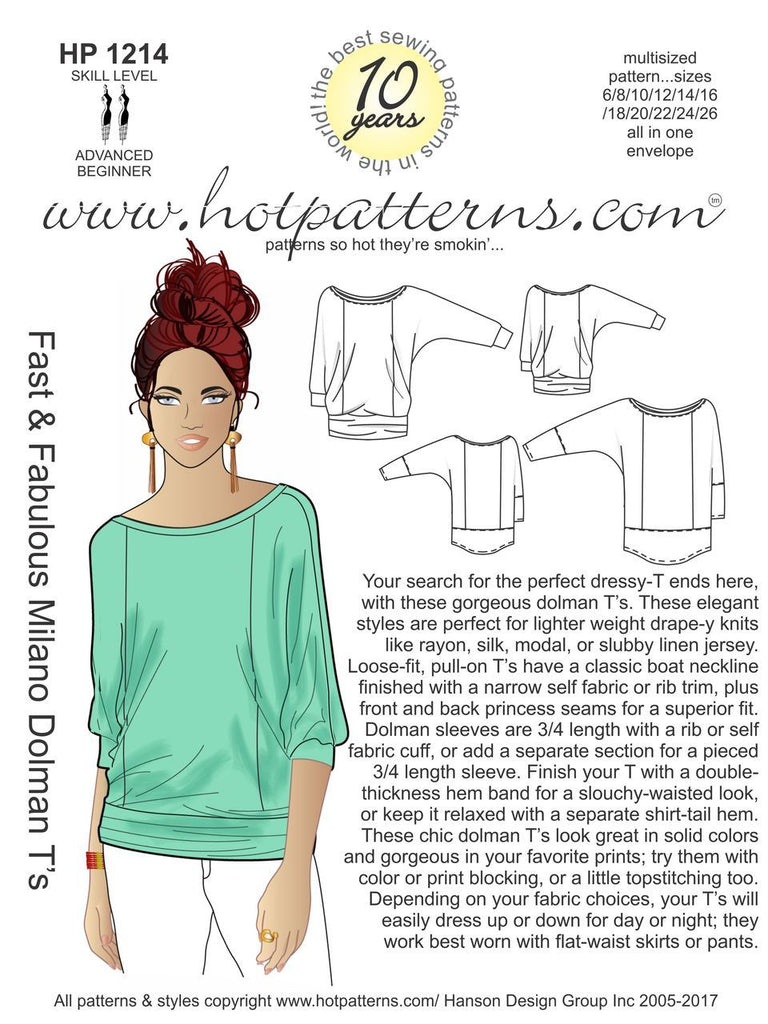 Hot Patterns 1214 - Milano Dolman T's