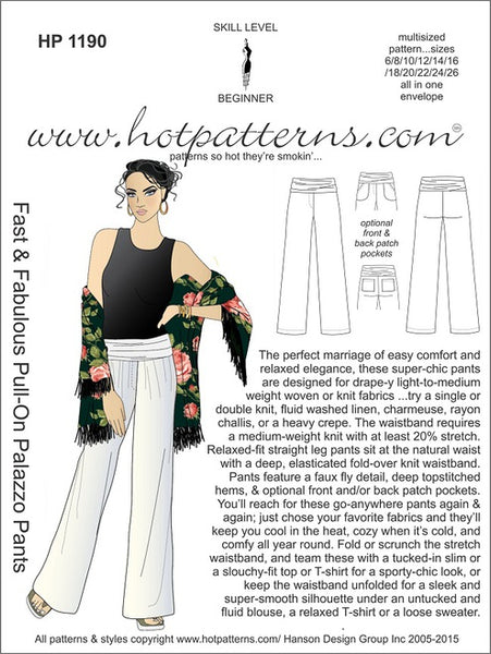 Hot Patterns 1190- Fast & Fabulous Pull-On Palazzo Pants