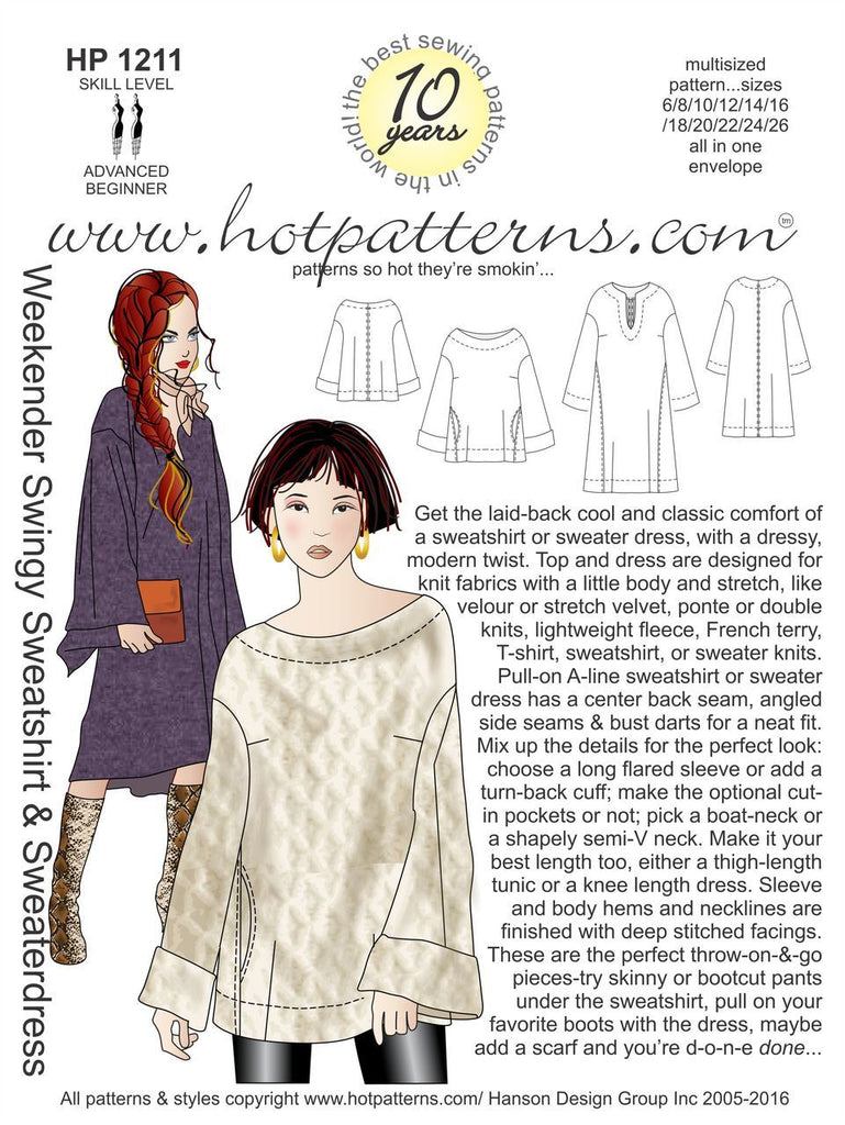 Hot Patterns 1211 - Weekender Swingy Sweatshirt & Sweaterdress