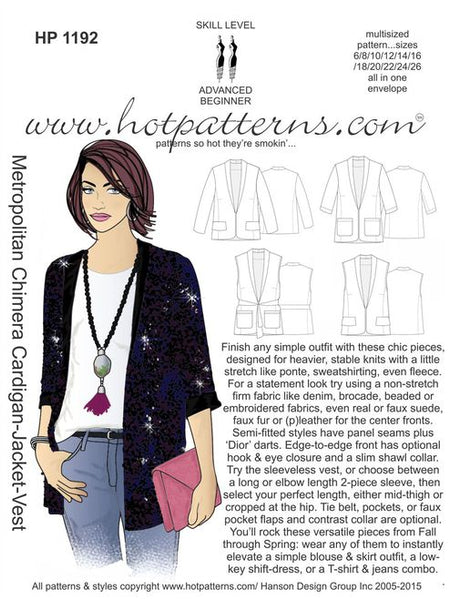 Hot Patterns 1192 - Metropolitan Chimera Cardigan-Jacket-Vest
