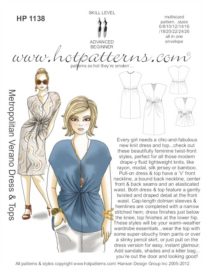 Hot Patterns 1138 - Metropolitan Verano Dress & Tops