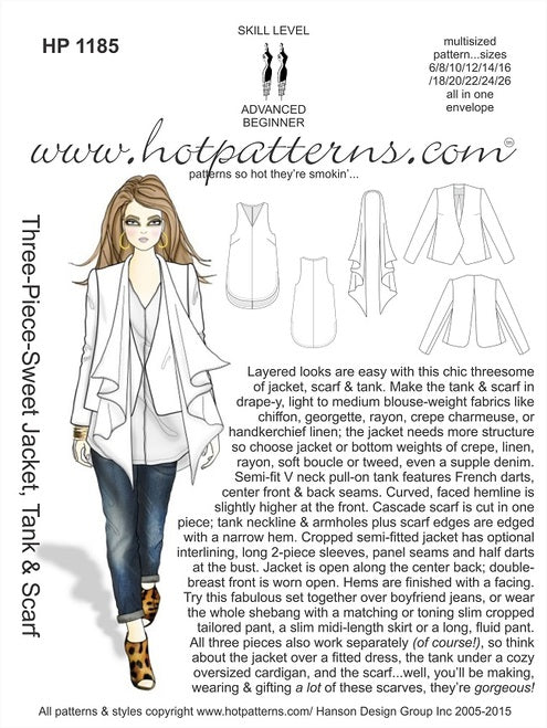 Hot Patterns 1185 - Three-Piece-Sweet Jacket, Tank & Scarf