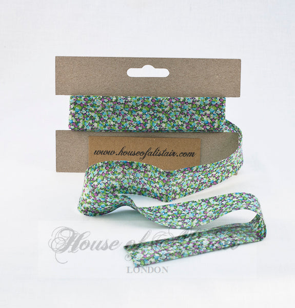 Liberty print Bias Binding - 25mm - by metre - Pepper Green