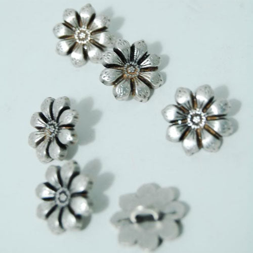 Antique Silver Flower Shank Buttons, 1.5cm - set of 4
