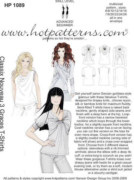 Hot Patterns 1089 - Classix Nouveau 3 Graces T-Shirts