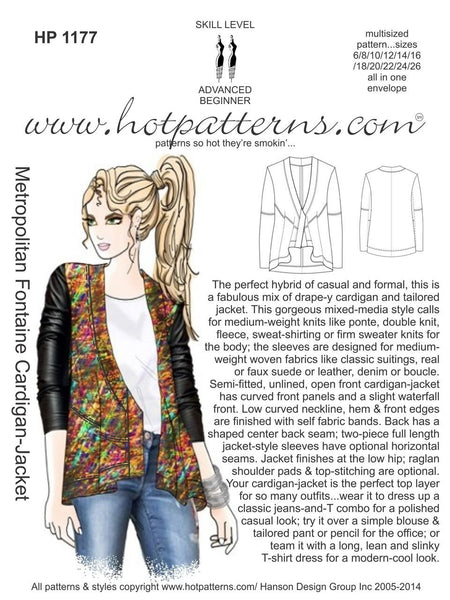 Hot Patterns 1177 - Metropolitan Fontaine Cardigan-Jacket