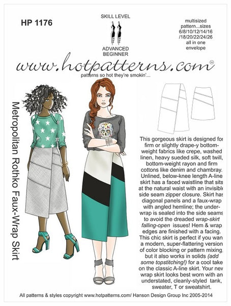 Hot Patterns 1176 - Metropolitan Rothko Faux-Wrap Skirt
