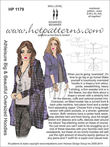 Hot Patterns 1179 - Athleisure Big & Beautiful Oversized Hoodies