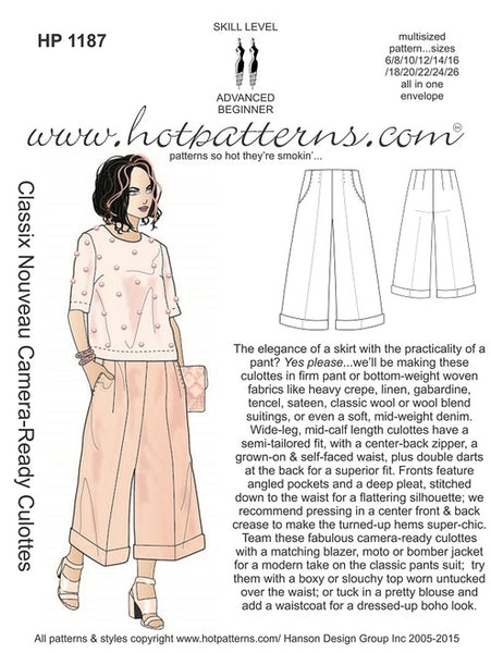 Hot Patterns 1187 - Classix Nouveau Camera-Ready Culottes