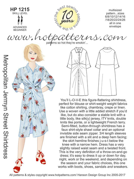 Hot Patterns 1215 - Metropolitan Jermyn Street Shirtdress