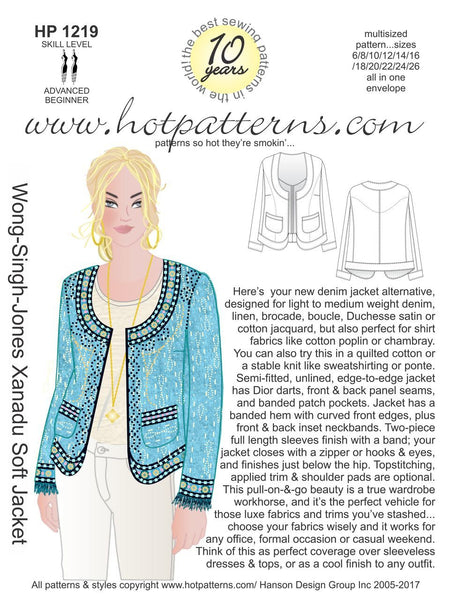Hot Patterns 1219- Wong-Singh-Jones Xanadu Soft Jacket
