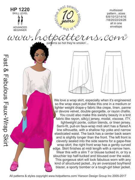 Hot Patterns 1220 - Fast & Fabulous Faux-Wrap Skirt