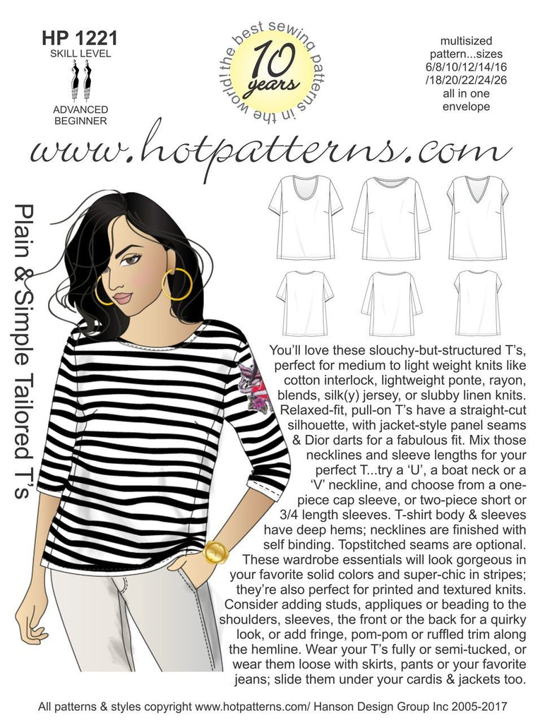 Hot Patterns 1221 - Plain & Simple Tailored T's