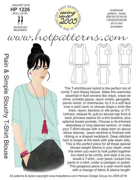 Hot Patterns 1226 - Plain & Simple Slouchy T-shirt