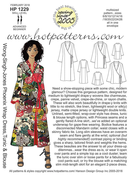 Hot Patterns 1229 - Wong-Singh-Jones Phoenix Wrap Dress, Tunic & Blouse