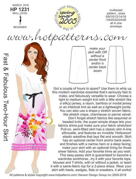 Hot Patterns 1231 - Fast & Fabulous Two-Hour Skirt