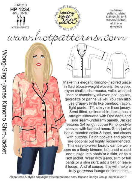 Hot Patterns 1234 - Wong-Singh-Jones Kimono Shirt-Jacket -COMING SOON