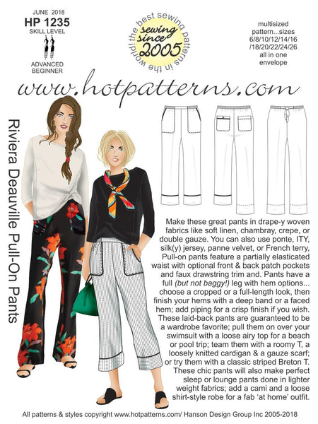 Hot Patterns 1235 - Riveria Deauville Pull-On Pants