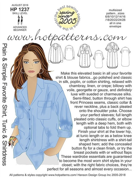 Hot Patterns 1237 - Plain & Simple Favorite Shirt, Tunic & Shirt Dress