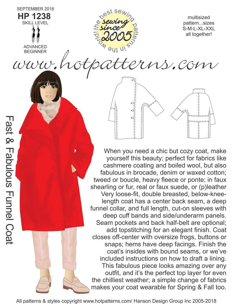 Hot Patterns 1238 - Fast & Fabulous Funnel Coat - Now in Stock