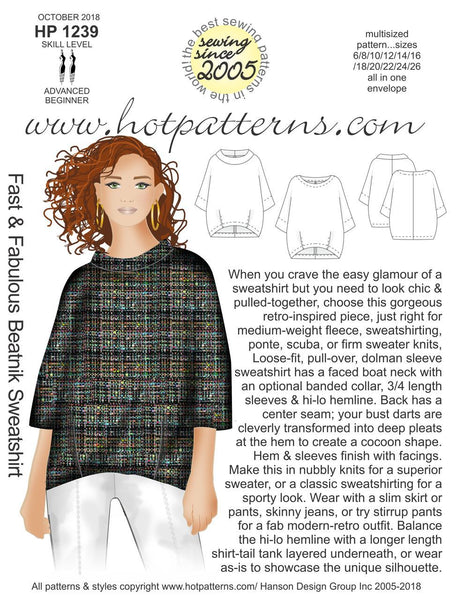 Hot Patterns 1239 - Fast & Furious Beatnik Sweatshirt