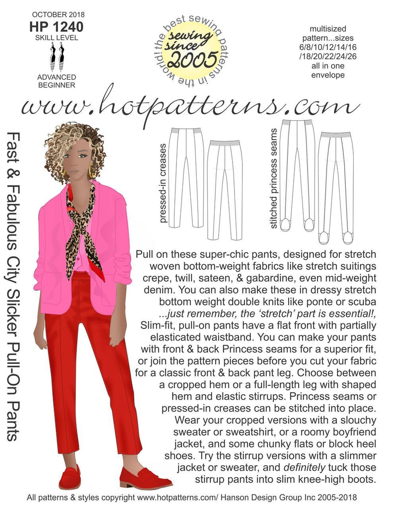 Hot Patterns 1240 - Fast & Fabulous City Slicker Pull-On Pants