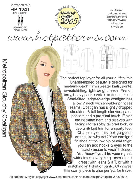 Hot Patterns 1241 - Metropolitan Slouchy Coatigan