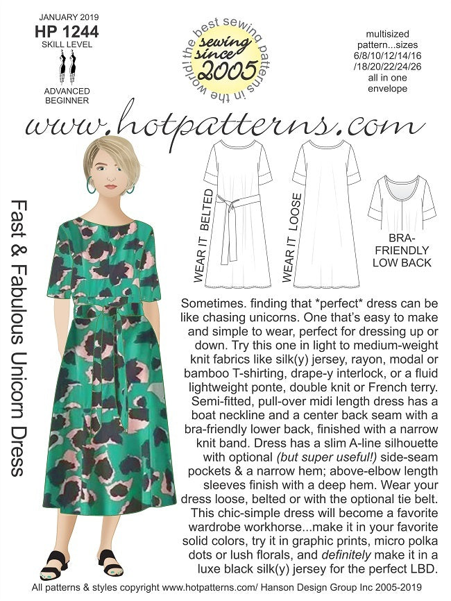 Hot Patterns 1244 - Fast & Fabulous Unicorn Dress NOW BACK IN STOCK