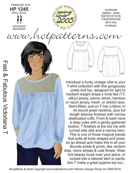 Hot Patterns 1245 - Fast & Fabulous Victoriana T - NOW IN STOCK