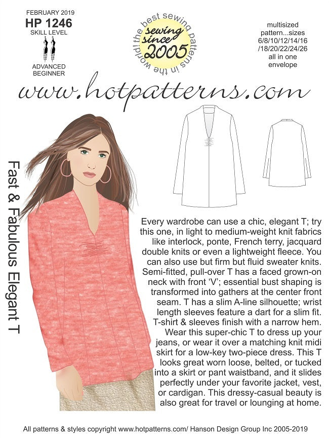 Hot Patterns 1246 - Fast & Fabulous Elegant T - NOW IN STOCK