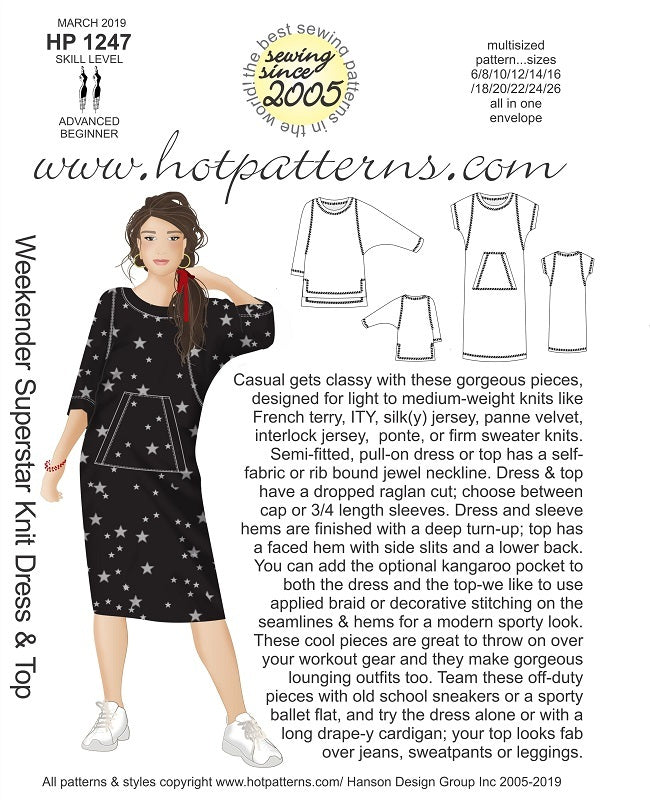 Hot Patterns 1247 - Weekender Superstar Dress - NOW IN STOCK