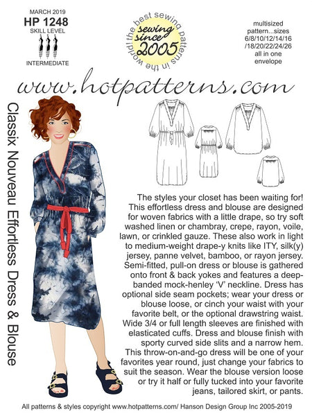 Hot Patterns 1248 - Classix Nouveau Effortless Dress & Blouse - NOW IN STOCK