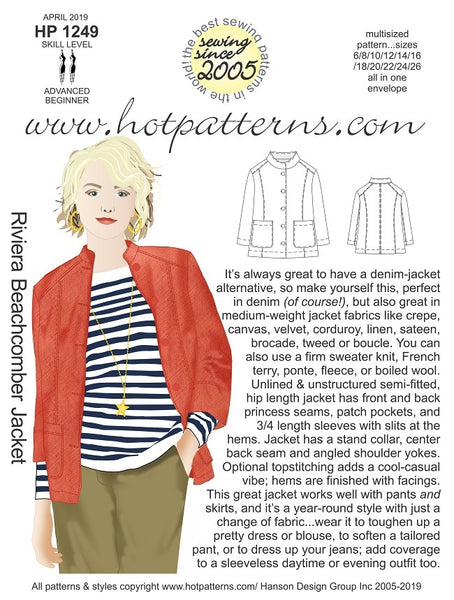 Hot Patterns 1249 - Riviera Beachcomber Jacket - Due in 25 April Special pre-order price