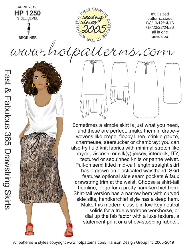 Hot Patterns 1250 - Fast & Fabulous 365 Drawstring Skirts - Now in Stock
