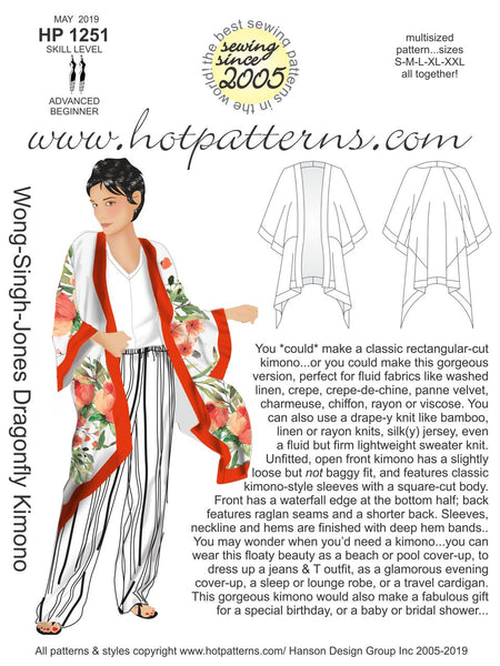 Hot Patterns 1251 - Wong-Singh-Jones Dragonfly Kimono - Due in stock 30 May